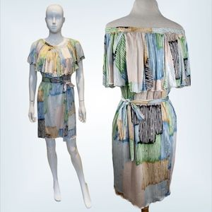 M Missoni 100% Silk Off the Shoulder Stripe Dress